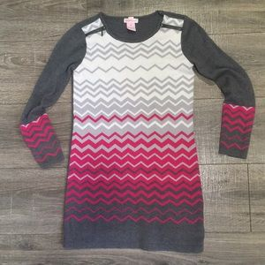 Size M grey, pink and white sweater with zippers